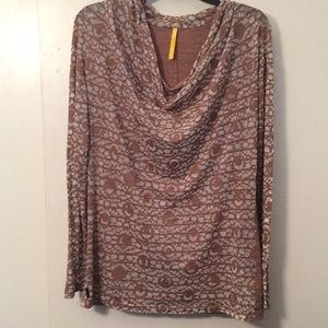 Lole brown long sleeve sheer wide neck top size M